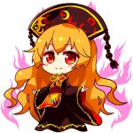 1girl bangs belt black_dress black_headwear blush bow bowtie brown_belt chibi chinese_clothes closed_mouth crescent dress energy eyebrows_visible_through_hair hair_between_eyes hands_up hat junko_(touhou) long_hair long_sleeves looking_at_viewer lowres one-hour_drawing_challenge orange_hair phoenix_crown pom_pom_(clothes) red_belt red_eyes red_vest renren_(ah_renren) simple_background smile solo standing tabard touhou very_long_hair vest white_background wide_sleeves yellow_bow yellow_neckwear