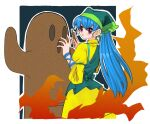 1girl apron bangs blue_hair brush dress eyebrows_visible_through_hair fire green_apron green_headwear green_scarf hair_between_eyes hands_up haniwa_(statue) haniyasushin_keiki highres long_hair looking_to_the_side open_mouth pink_eyes scarf short_sleeves solo standing staygold touhou yellow_dress