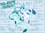 :d ;) alopias alternate_color artist_name blue_eyes blush closed_mouth commentary_request gen_4_pokemon glaceon green_eyes no_humans one_eye_closed open_mouth partially_colored pokemon pokemon_(creature) shiny_pokemon smile toes tongue translation_request weight