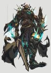 1boy absurdres armor blue_fire boots fate/grand_order fate_(series) fire glowing highres horns hu_tu king_hassan_(fate) male_focus shield skull_on_head sword twitter_username weapon