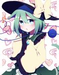 1girl animal_ears bangs bow bright_pupils cat_ears cowboy_shot floral_print frilled_sleeves frills green_eyes green_hair green_skirt hat hat_bow heart heart_background heart_of_string highres komeiji_koishi long_sleeves looking_at_viewer open_mouth rose_print shirt short_hair skirt solo standing third_eye touhou white_background white_pupils wide_sleeves yellow_bow yellow_shirt you_(noanoamoemoe)