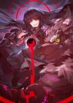 1girl :p absurdres animal_ears babalon_(tokyo_houkago_summoners) black_fur black_hair black_sclera blood blue_eyes colored_sclera demon_king_fish fingernails floating_hair furry furry_male giant giant_male head_tilt highres humanization long_hair looking_at_viewer mismatched_sclera muscular muscular_male pool_of_blood pouring red_eyes sailor_collar school_uniform serafuku sharp_fingernails sharp_teeth sitting sitting_on_person size_difference smile teeth therion_(tokyo_houkago_summoners) tokyo_houkago_summoners tongue tongue_out wolf_boy wolf_ears yellow_eyes yellow_sclera