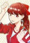 1girl breasts hair_ribbon hands_up highres jacket long_hair looking_at_viewer persona persona_5 persona_5_the_royal ponytail red_eyes redhead ribbon riku_(ukir125) smile solo track_jacket yoshizawa_kasumi