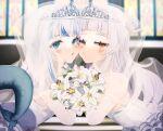 2girls blue_eyes blush bridal_veil cheek-to-cheek dress eyebrows_visible_through_hair fish_tail flower_request gawr_gura heads_together highres hololive hololive_english long_hair multicolored_hair multiple_girls murasaki_shion nu_(naoyahirota61217010) parted_lips shark_tail silver_hair streaked_hair tail tiara veil virtual_youtuber wedding_dress yuri
