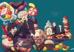4boys albus_severus_potter amazou black_hair black_robe blonde_hair blue_eyes candy chocolate cupcake draco_malfoy father_and_son food glasses green_eyes harry_james_potter harry_potter harry_potter:_the_cursed_child hogwarts_school_uniform holding holding_wand jar jelly_bean long_hair multiple_boys necktie older ponytail scar_on_forehead school_uniform scorpius_malfoy short_hair slytherin smile striped striped_neckwear sweets vest wand