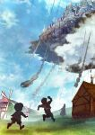 1girl 2boys blankcoin blue_sky building castle chain child clouds concept_art day fantasy floating_castle grass highres multiple_boys outdoors running scenery sky windmill