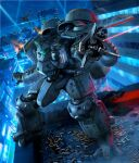 aircraft box_art cityscape fire helicopter highres laser madox-01 mecha mercy_rabbit metal_skin_panic_madox-01 military military_vehicle night night_sky no_humans official_art science_fiction searchlight shell_casing sky smoke solo visor