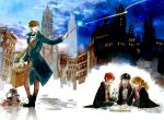 1girl 3boys black_hair black_robe book bow bowtie brown_hair childlock fantastic_beasts_and_where_to_find_them glasses gryffindor harry_james_potter harry_potter hermione_granger highres hogwarts_school_uniform holding holding_wand lantern long_hair multiple_boys necktie newt_scamander niffler open_book orange_hair robe ron_weasley school_uniform short_hair smile striped striped_neckwear time_paradox wand