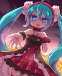 1girl 7th_dragon_(series) 7th_dragon_2020-ii :d ahoge bangs bare_shoulders black_dress blue_eyes blue_hair clouds commentary_request dress eyebrows_visible_through_hair floro_(7th_dragon) flower hair_between_eyes hairband halterneck hand_up hatsune_miku highres layered_dress long_hair naga_u nail_polish open_mouth orange_flower outdoors outstretched_arm pleated_dress red_hairband red_nails sky smile solo twintails very_long_hair vocaloid wrist_cuffs