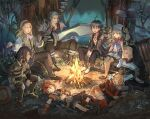 3girls 5boys ahoge aqua_hair black_footwear black_hair black_pants black_shorts blonde_hair blue_eyes boots campfire character_request closed_eyes gloves green_vest habit hairband hairlocs hand_up holding holding_sword holding_weapon long_hair long_sleeves lying megido72 midriff multiple_boys multiple_girls navel on_back open_mouth oversized_object pants plaid plaid_skirt profile redhead sasumata_jirou scar scar_on_face shirt shoes short_hair shorts sitting skirt sleeveless smile sword twintails vest weapon white_gloves white_shirt yellow_skirt
