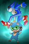 1boy blue_hair card furry furry_male gloves green_eyes guilhermerm highres long_hair looking_at_viewer male_focus persona red_footwear sega shoes smile solo sonic_(series) sonic_the_hedgehog super_smash_bros. video_game white_gloves
