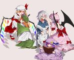5girls bangs blonde_hair book brown_hair closed_mouth crescent crescent_hat_ornament double_bun flandre_scarlet fuuga_(perv_rsity) hat hat_ornament highres hong_meiling izayoi_sakuya knife long_hair long_sleeves looking_at_viewer mob_cap multiple_girls open_book open_mouth patchouli_knowledge purple_hair reading red_eyes remilia_scarlet short_sleeves sitting smile standing touhou