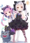 2girls :o absurdres ahoge anchor_hair_ornament animal_ear_fluff animal_ears bangs black_bow black_dress black_ribbon blue_choker blue_hair blue_hairband blue_sailor_collar blunt_bangs blush bow brown_eyes brown_legwear cat_ears cat_girl cat_tail choker closed_mouth collarbone colored_inner_hair commentary_request divergenceok dress drill_hair eyebrows_visible_through_hair flying_sweatdrops frilled_bow frilled_choker frilled_ribbon frilled_sailor_collar frills full_body hair_ornament hair_ribbon hairband halter_dress halterneck highres hololive long_hair long_sleeves looking_at_viewer minato_aqua multicolored_hair multiple_girls murasaki_shion musical_note neko_(minato_aqua) no_shoes pantyhose parted_lips pink_hair puffy_long_sleeves puffy_sleeves ribbon sailor_collar shiokko_(murasaki_shion) shirt short_eyebrows sidelocks silver_hair simple_background sleeves_past_fingers sleeves_past_wrists smile standing tail tail_bow tail_ornament twin_drills twintails violet_eyes virtual_youtuber white_background white_legwear white_shirt younger