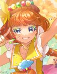 1girl armpits blue_eyes brown_hair choker collarbone cure_papaya earrings fingerless_gloves gloves grin hair_ornament highres index_finger_raised jewelry long_hair looking_at_viewer makeup mascara n-bata precure sailor_collar shiny shiny_hair sleeveless smile solo tropical-rouge!_precure upper_body yellow_choker yellow_gloves yellow_sailor_collar