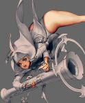 1girl absurdres bead_bracelet beads belt belt_pouch bracelet charm_(object) cross eyelashes finger_on_trigger green_eyes greyscale gun highres holding holding_gun holding_weapon jewelry kim_hyung_tae monochrome necklace nun open_mouth original partially_colored pouch short_hair solo spread_legs teeth tongue weapon