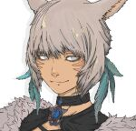 1girl animal_ears bangs blue_eyes bright_pupils brooch cat_ears choker closed_mouth face facial_mark feather_hair_ornament feathers final_fantasy final_fantasy_xiv fur_trim grey_hair hair_ornament jewelry lips looking_at_viewer miqo'te short_hair smile solo tan tumubar117 whisker_markings white_pupils y'shtola_rhul
