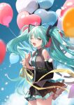 1girl ;d antenna_hair balloon bangs bare_shoulders black_skirt black_sleeves blue_sky clouds collared_shirt commentary day detached_sleeves eyebrows_visible_through_hair green_eyes green_hair grey_shirt hatsune_miku heart_balloon highres holding holding_balloon long_sleeves nima_(niru54) one_eye_closed open_mouth outdoors pleated_skirt shirt skirt sky sleeveless sleeveless_shirt smile solo symbol-only_commentary twintails vocaloid wide_sleeves