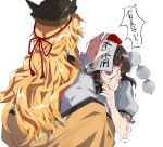 2girls anger_vein arm_up back bangs black_bow black_hair black_headwear black_neckwear blonde_hair blush bow bowtie brown_headwear cape closed_eyes collar collared_shirt eyebrows_visible_through_hair fuuga_(perv_rsity) hair_between_eyes hands_up hat highres long_hair long_sleeves looking_at_another matara_okina multiple_girls open_mouth orange_cape paper pom_pom_(clothes) puffy_short_sleeves puffy_sleeves red_bow red_headwear shameimaru_aya shirt short_hair short_sleeves simple_background tokin_hat touhou white_background white_shirt wide_sleeves