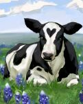 animal animal_focus black_eyes blue_flower commentary cow day english_commentary flower grass heart highres looking_at_viewer nature no_humans original outdoors ronnie_(rintitty) solo