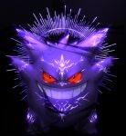 body_markings commentary full_body gen_1_pokemon gengar glowing_markings grin highres iogi_(iogi_k) no_humans outstretched_arms pokemon pokemon_(creature) red_eyes smile solo teeth