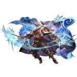 1boy armor cape closed_mouth draph eahta_(granblue_fantasy) facepaint full_body gloves granblue_fantasy greaves headband holding holding_sword holding_weapon horns katana long_hair long_sleeves looking_at_viewer makeup male_focus official_art prehensile_hair sandals sheath solo sparkle sword transparent_background very_long_hair weapon white_hair