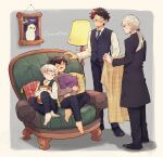 4boys albus_severus_potter amazou barefoot bird black_hair blanket blonde_hair closed_eyes couch draco_malfoy father_and_son glasses harry_james_potter harry_potter harry_potter:_the_cursed_child hedwig highres long_coat long_hair lying_on_person multiple_boys necktie older owl ponytail scar_on_forehead scorpius_malfoy short_hair sitting sleeping smile