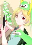 1girl absurdres animal_on_head animal_on_shoulder apron blonde_hair breasts dragon_horns eating food highres horns kaisenpurin kicchou_yachie knife looking_at_viewer on_head otter_spirit_(touhou) queue red_eyes sausage scales short_hair short_sleeves small_breasts smile touhou turtle_shell