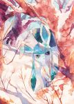 :o bare_tree commentary_request day gen_4_pokemon glaceon highres looking_at_viewer no_humans oharu-chan open_mouth outdoors painting_(medium) pokemon pokemon_(creature) snow snowflakes solo traditional_media tree watercolor_(medium)