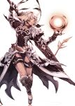 1girl absurdres armor au_ra breasts closed_eyes dark_knight_(final_fantasy) dragon_horns dragon_tail final_fantasy final_fantasy_xiv gauntlets greatsword highres hip_armor holding holding_sword holding_weapon horns long_hair looking_at_viewer medium_breasts mihira_(tainosugatayaki) shoulder_armor solo sword tail weapon white_background white_hair