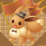 :d artist_name brown_ribbon character_name commentary_request dated eevee full_body gen_1_pokemon grey_headwear hat hat_ribbon hatted_pokemon looking_at_viewer no_humans open_mouth pokemon pokemon_(creature) ribbon sasabunecafe smile solo standing toes tongue