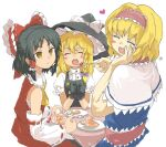 1boy 2girls alice_margatroid bangs bent_spoon black_gloves black_hair black_headwear black_vest blonde_hair blue_dress blush_stickers bow braid capelet cherry closed_eyes closed_mouth commentary_request cookie_(touhou) cowboy_shot detached_sleeves dress empty_eyes eyebrows_visible_through_hair feeding food frilled_bow frills fruit gelatin genderswap genderswap_(ftm) gloves hair_bow hairband hakurei_reimu half_updo happy hat heart heart_in_mouth holding holding_spoon jealous kirisame_marisa long_hair looking_at_another medium_hair multiple_girls open_mouth otoko_no_ko pink_hairband pink_sash puffy_short_sleeves puffy_sleeves purple_bow red_bow red_shirt red_skirt rei_(cookie) ribbon-trimmed_sleeves ribbon_trim sakuranbou_(cookie) sananana_(cookie) sash shirt short_hair short_sleeves side_braid simple_background single_braid skirt sleeveless sleeveless_shirt smile spoon staring table touhou vest white_background white_capelet white_shirt white_sleeves witch_hat yellow_eyes yellow_neckwear yma