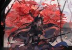 1girl animal_ears apple_da-ze arknights autumn_leaves black_kimono blurry blurry_background brown_hair cape closed_mouth dog_ears elbow_gloves fingerless_gloves from_side full_body gloves highres holding holding_weapon japanese_clothes kimono leaf long_hair long_sleeves looking_to_the_side pants polearm red_eyes saga_(arknights) serious sheath solo standing tree tree_shade unsheathing weapon white_sky wind wind_lift