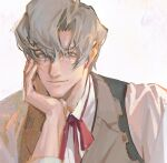 1boy brown_vest closed_mouth dai_gyakuten_saiban grey_eyes grey_hair gyakuten_saiban hair_between_eyes head_rest highres long_sleeves looking_at_viewer male_focus red_neckwear sherlock_holmes_(gyakuten_saiban) shirt simple_background smile solo ticket531 upper_body vest white_background white_shirt