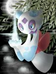 blue_eyes colored_sclera commentary_request flower froslass gen_4_pokemon holding leaf looking_down no_humans pokemon pokemon_(creature) sasabunecafe solo yellow_sclera