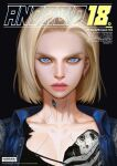 1girl android_18 barcode blonde_hair blue_eyes close-up cover cyborg denim denim_jacket dragon_ball dragon_ball_z earrings english_commentary english_text etama_quomo fake_magazine_cover jacket jewelry looking_at_viewer magazine_cover mechanical_parts shirt short_hair torn_clothes torn_shirt translation_request