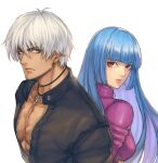 1boy 1girl blue_eyes bodysuit breasts cross cross_necklace eyebrows_visible_through_hair jacket jewelry k'_(kof) kthovhinao_virmi kula_diamond leather leather_jacket long_hair looking_at_viewer necklace open_clothes open_jacket red_eyes simple_background small_breasts tan the_king_of_fighters upper_body violet_eyes white_background white_hair
