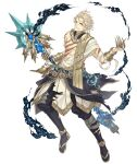1boy aladdin_(character) asymmetrical_clothes blonde_hair blue_eyes bracer claw_ring full_body holding holding_staff ji_no looking_at_viewer official_art sandals scar sinoalice smoke solo staff torn_clothes transparent_background