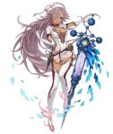 1girl blue_eyes boots breasts cinderella_(sinoalice) dark_skin elbow_gloves full_body gloves hair_over_one_eye hat ji_no large_breasts long_hair looking_at_viewer nurse nurse_cap official_art purple_hair sinoalice solo syringe thigh-highs thigh_boots transparent_background very_long_hair white_gloves white_legwear