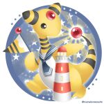ampharos artist_name black_eyes closed_mouth commentary_request flag gen_2_pokemon grey_sailor_collar holding holding_stick lighthouse no_humans outstretched_arm pokemon pokemon_(creature) sailor_collar sasabunecafe smile solo star_(symbol) stick