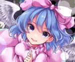 1girl bangs blue_eyes blue_hair bow breasts commentary_request dark_background dress eyebrows_visible_through_hair feathered_wings frills fuyoyo hair_between_eyes hair_bow highres index_finger_raised looking_at_viewer mai_(touhou) medium_breasts medium_hair parted_lips pink_bow pink_dress simple_background smile solo touhou touhou_(pc-98) upper_body wings