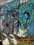 animal_ears battle claws commission crossover cthulhu cthulhu_mythos eldritch_abomination fighting gabe_tkezilla giant giant_monster glowing godzilla godzilla_(series) highres kaijuu mini_wings monster no_humans open_mouth sharp_teeth spines tail teeth tentacles wings