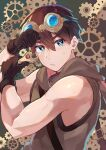 1boy blue_eyes brown_hair brown_tank_top closed_mouth eyebrows_visible_through_hair gears gloves goggles goggles_on_head highres holding holding_wrench hood hood_down kurobikari looking_at_viewer male_focus original short_hair sweatdrop tank_top toned toned_male upper_body veiny_arms wrench