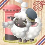 :d character_name commentary_request envelope gen_8_pokemon grey_headwear hatted_pokemon mailbox_(incoming_mail) no_humans open_mouth pokemon pokemon_(creature) sasabunecafe sheep smile solo standing tongue wooloo