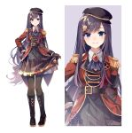 1girl akira_(ying) ascot black_footwear black_hair black_headwear black_legwear black_neckwear black_skirt blue_eyes boots brooch brown_gloves cabbie_hat closed_mouth collateral_damage_studios epaulettes glint gloves hair_ornament hairclip hat highres jacket jewelry knee_boots kyouka_(overidea) long_hair long_sleeves overidea pantyhose pleated_skirt red_jacket shirt skirt smile solo very_long_hair virtual_youtuber white_background white_shirt zoom_layer