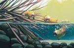 air_bubble bidoof bubble commentary_request day fangs fusenryo gen_4_pokemon highres leaf mouth_hold no_humans outdoors partially_underwater_shot pokemon pokemon_(creature) swimming water