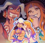 1boy 1girl arm_tattoo bikini bikini_top black_hair crossed_arms earmuffs evil_grin evil_smile goggles goggles_around_neck grin hat highres log_pose long_hair long_nose looking_at_viewer nami_(one_piece) ojou-sama_pose one_piece orange_hair qin_(7833198) shaded_face shirtless smile swimsuit tattoo usopp whispering