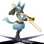 artist_name commentary_request full_body gen_4_pokemon highres holding holding_instrument instrument looking_at_viewer lucario pokemon pokemon_(creature) red_eyes sasabunecafe solo standing toes trombone white_background