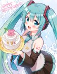 1girl :d aqua_hair argyle argyle_background bangs bare_shoulders black_skirt black_sleeves blue_eyes blue_neckwear blush cake character_name collared_shirt commentary_request dated detached_sleeves eyebrows_visible_through_hair food grey_shirt hair_between_eyes happy_birthday hatsune_miku headphones headset heart holding holding_plate long_hair long_sleeves looking_at_viewer necktie open_mouth plate pleated_skirt shirt skirt sleeveless sleeveless_shirt smile snowmi solo sparkle spring_onion tie_clip twintails very_long_hair vocaloid wide_sleeves