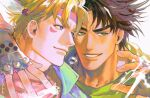 2boys artist_name battle_tendency blonde_hair blue_eyes brown_hair bubble caesar_anthonio_zeppeli commentary_request electricity error facial_mark feather_hair_ornament feathers fingerless_gloves gloves green_eyes green_scarf hair_ornament hand_up headband highres jojo_no_kimyou_na_bouken joseph_joestar joseph_joestar_(young) looking_to_the_side male_focus multiple_boys nashi_y pink_scarf redrawn scarf short_hair thai_commentary twitter_username