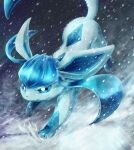 absurdres blue_eyes commentary_request gen_4_pokemon glaceon highres huge_filesize ka-neito no_humans outdoors parted_lips pokemon pokemon_(creature) snow snowing solo toes